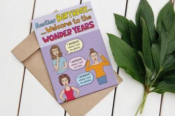"Wonder Years Greeting Card (The Greeting inside reads ""Wishing You a WONDERful BIRTHDAY"""